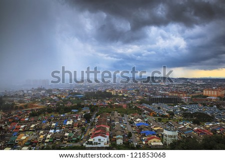 Top view of town at rain is coming