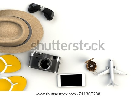 Top view of Traveler's accessories on white table background, Essential vacation items, Travel concept, 3D rendering