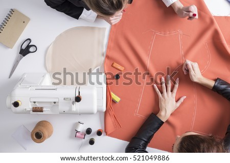 top view of two girls making a...
