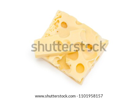 Top view of two pieces of the Swiss cheese different sizes with large holes known as cheese's eyes on a white background