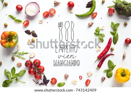 top view of various fresh vegetables and herbs isolated on white - Shutterstock ID 743142409