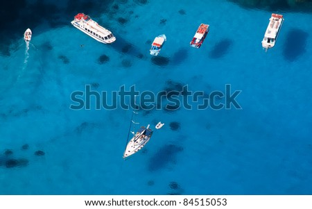 Top view of various kind of boats anchoring in bay