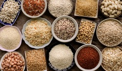 Top view of veriety natural organic cereal and grain seed for healthy food ingredient or agricultural product concept