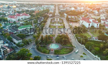 top view of vientiane,Patuxai War Memorial at the center of Vientiane, Laos #1395527225