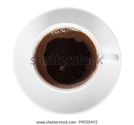 Top view of white cup of coffee isolated over white background