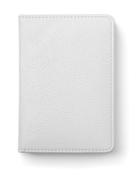 Top view of white leather notebook isolated on white