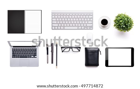 top view of White office desk table with a lot of things on it.