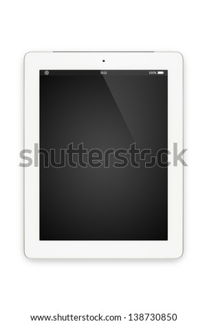 Top view of white tablet computer in portrait orientation isolated on white background. You can put your own interface or inscription on the screen.