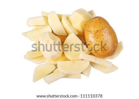top view of whole and cut potatoes
