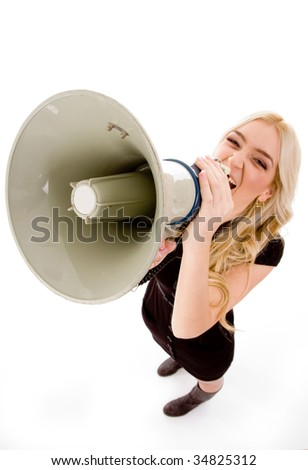 top view of woman shouting in loudspeaker on an isolated background