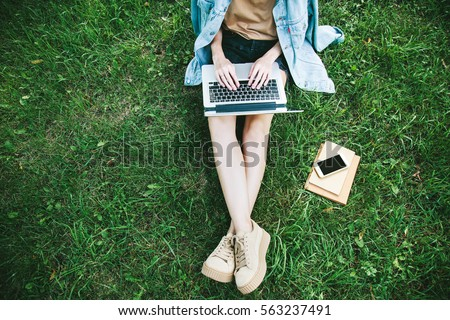 top view of woman sitting in...