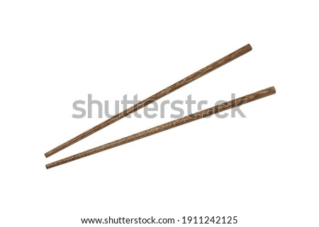 Top view of wooden chopsticks isolated on white background. Foto stock ©