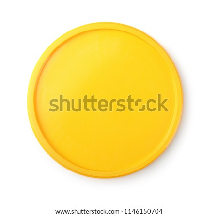 Photo of  Top view of yellow plastic lid isolated on white