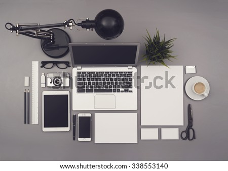 Top view office corporate design mockup template #338553140