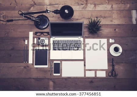 Top view office corporate design mockup template #377456851