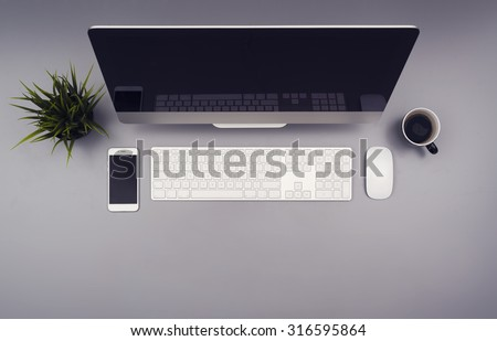 top view office desk hero header #316595864