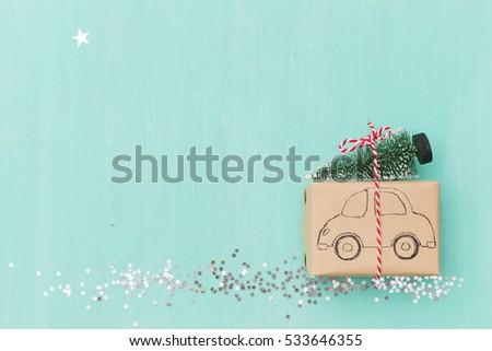 top view on christmas gift...
