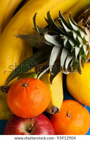 Top view on fresh various fruits