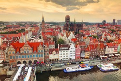 Top view on Gdansk old town and Motlawa river, Poland at sunset. Also known as Danzig and the city of amber.