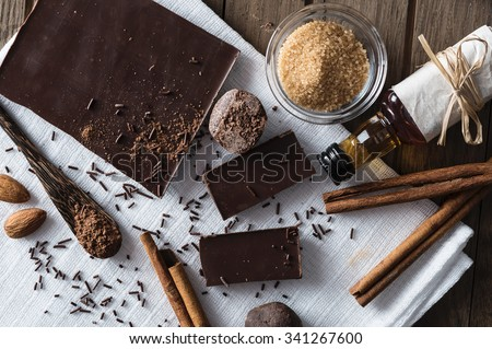 Top view on ingredients for chocolate dessert preparation