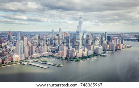 Top view on lower Manhattan from a tourist helicopter view #748365967