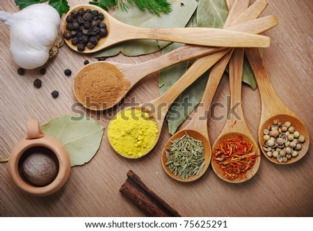 Top view on mixed dry colorful spices in wooden spoons on rustic table