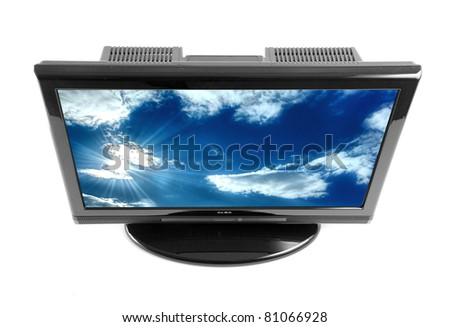 Top view on modern tv set isolated on white, with cloudy sky on screen