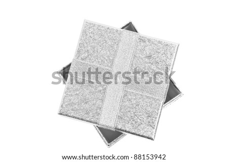 Top view on open silver gift box, isolated on white