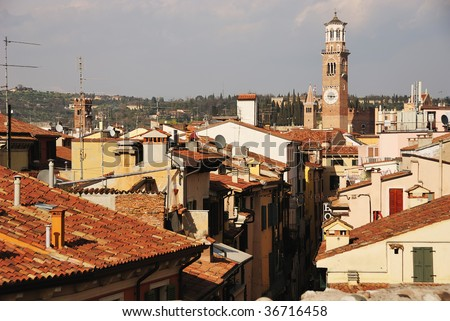 Top view on roofs of italian city. Verona, Italy, Europe.