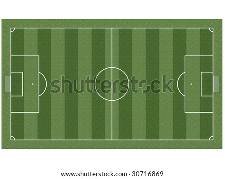 Top view on soccer field with gates, corner flags and soccer ball. High resolution 3D image