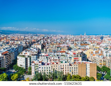 Top view on streets and houses of Barcelona, Spain
