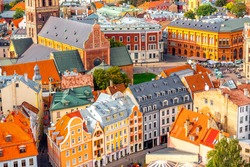 Top view on the old town with beautiful colorful buildings in Riga city, Latvia