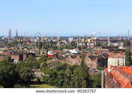 Top view on the shipyards and the port of Gdansk, Poland.
