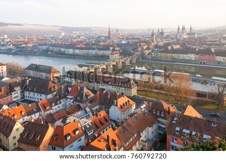 Top view on Wurzburg panorama at at dawn. Germany.
