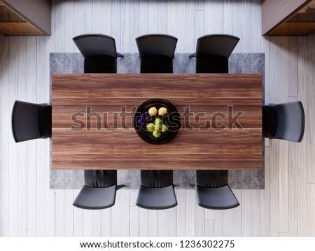 top view over dining table in dining room. ceramic dish decoration on wood and wooden table. soft light color. set of dinner room. little fruit decoration. 3d rendering