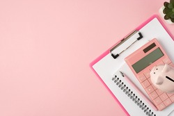 Top view photo of piggybank on pink calculator clipboard planner pen and plant on isolated pastel pink background with copyspace