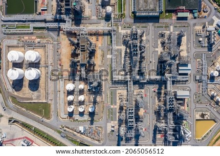 Top view power plant of gas power plant. Thermal power plants and fuel oil.