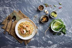 Top view Prawn fried rice with Thai food, a fusion of healthy Thai-Asian food concept
