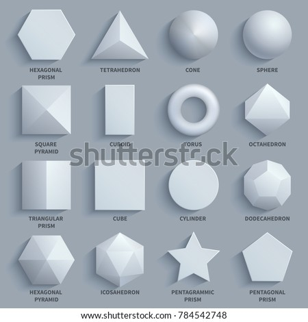 Top view realistic white math basic 3d shapes set. Three dimensional geometric figures. Geometric shape figure form illustration