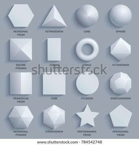 Top view realistic white math basic 3d shapes set. Three dimensional geometric figures. Geometric shape figure form illustration