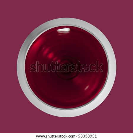 Top view red wine glass