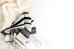Top view. Religion concept of White Prayer Shawl - Tallit, Jewish religious symbol