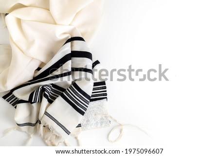 Top view. Religion concept of White Prayer Shawl - Tallit, Jewish religious symbol Photo stock ©