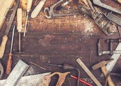 top view retro woodworking tools hero header