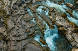 top view rocky river stream highland mountains nature water motion landscape picture outside environment