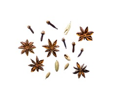 Top view set of cardamom, star anise, coriander, cloves, isolated on white background. Spices, ingredients for preparation mulled wine, Masala tea, winter concept