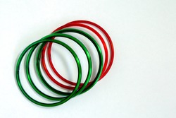 Top view side view of Green bangles and red bangles isolated in white background