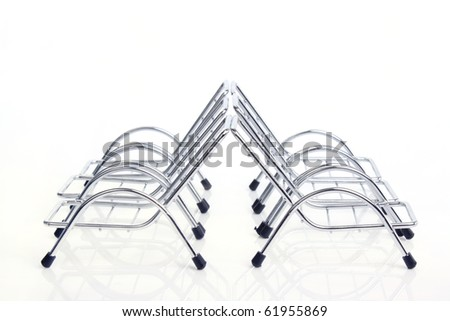 top view silver steel chair isolated on white background.