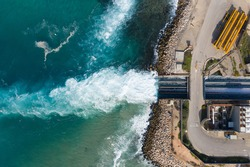 Top view The largest water desalination facility in the world, Hadera Israel