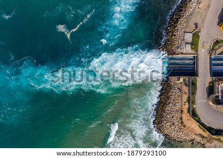 Top view The largest water desalination facility in the world, Hadera Israel Foto stock ©